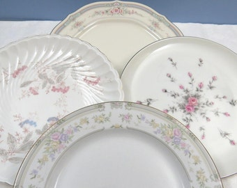 "Set of 4 Mismatched Plates, 8"" Dessert or Salad, Mix and Match for Vintage Wedding or Tea Party, Fine China, Muted Pink Florals SP51"
