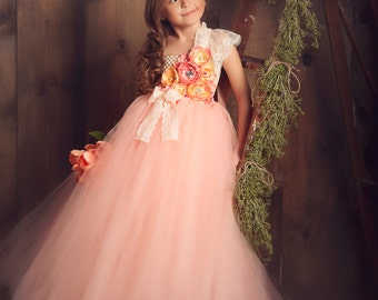 Summer Peach Tutu Dress