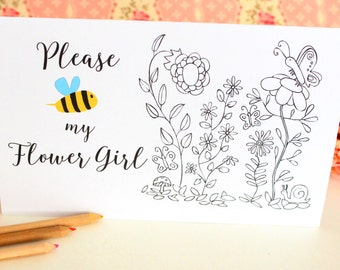 Be my Flower Girl card, Printable card, Will You Be My Flower girl, Flower girl card, Wedding Card, Floral Card, Bridal Party, Color Card