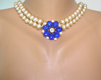 SAPPHIRE Necklace, Long Pearl Necklace, Great Gatsby, Cream Pearls, Vintage Bridal, Montana Rhinestone, Cobalt Blue, Wedding Necklace, Deco