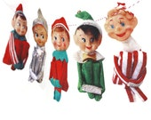 Vintage Christmas Elves Banner - photo reproductions on felt - vintage Knee-Hugger Elf Garland - kitch Christmas