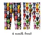 Baby Leggings - sugar skulls printed leggings - novelty day of the dead unisex child yoga pants