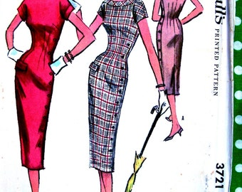 UNCUT * Vintage 1950s  McCALLs  Pattern 3721 - Misses' Dramatic Side Button Detail Wiggle Dress  * Size 14 * bust 32