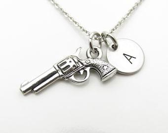 Gun Necklace, Revolver Necklace, Hand Gun Necklace, Personalized, Monogram Initial Necklace, Antique Silver Gun Charm Y397