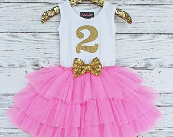 Sale, Birthday Number Tutu Dress, 2nd Birthday, Gold Glitter, Gold Sparkle Dress, Pink Gold Birthday Party, Girls Party Dress