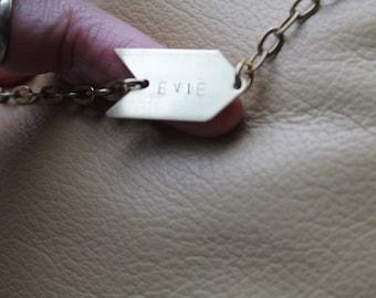 Initial personalised Bracelet arrow raw brass