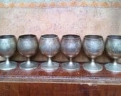 Antique French Victorian/ Art Nouveau Silver Egg Cups. Decorative Engraved Silver Egg Cups.