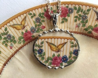 Broken china jewelry oval necklace pendant antique rare yellow butterfly china made from a broken plate