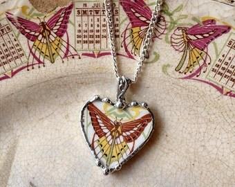 Broken china jewelry heart pendant necklace antique Art Nouveau butterfly luna moth