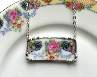 Beautiful and unqiue pink rose porcelain floral broken china jewelry necklace