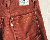 Vintage 70s Rare Levis Brick Red Corduroy Pants White Tag Rainbow Label 28 x 34