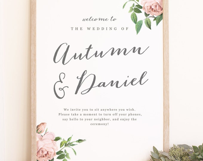 Featured listing image: DIY Wedding Welcome Poster Template - Printable Welcome Sign - Vintage Botanical - Word or Pages  - 18x24 or 24x36 - INSTANT DOWNLOAD