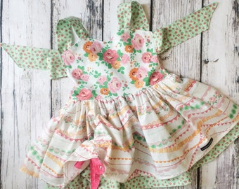 Mint and Coral Floral Poppy Peak-a-Boo Dress- Girls Easter Dress, Spring Dress