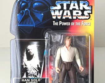 Vintage Star Wars Han Solo Action Figure - 1990's Star Wars Kids Toy, Han Solo in Carbonite from The Empire Strikes Back - In Original Pkg.