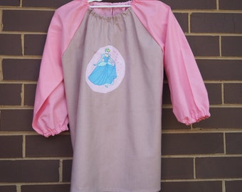 Long sleeve waterproof girl's art smock, paint apron. To fit age 9-12  Cinderella.