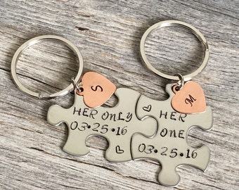 Her One, Her Only Couples Keychains, Puzzle Keychains, LGBT gifts, Lesbian Gifts, anniversary gift, gift for gay couple, lesbian couples