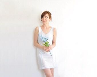 pastel blue mini negligee slip . printed lace lingerie dress .extra small.small.xs .sale s a l e