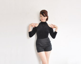 black velvet open shoulder leotard . one piece thong bodysuit .small.medium .sale