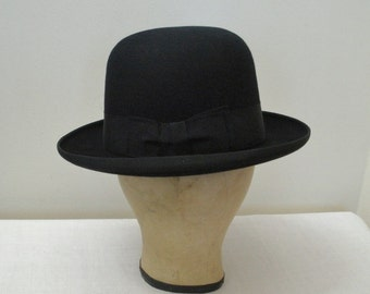 Vintage Black Stetson Derby Bowler with Hat Box