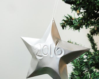 Embossed year Year of Choice Aluminum Can Stars, Christmas Ornaments, 2017, 2018, Happy New Year Customized, Gift Topper, Upcycled Recycled