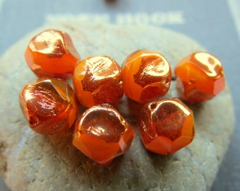 NEW BRONZED PAPAYA . Czech Faceted & Polished Metallic Beads (10 beads) 9 mm