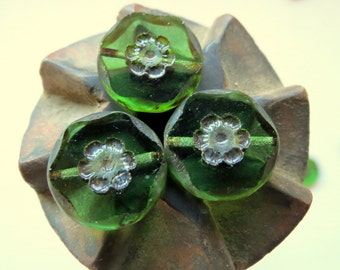 NEW Rustic Emerald DAISY COINS . Czech Picasso Glass Beads . 15 mm (6 beads)
