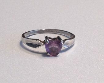 Amethyst Heart Ring Sterling Silver Size 9 Purple