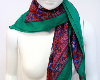Vintage Polyester Green and Purple Floral Paisley Square Scarf