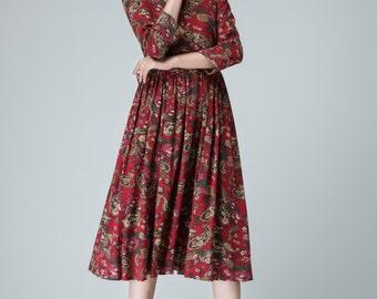flower dress, knee length dress, womens dresses, spring dress, pleated dress, wedding dress, party dress, linen dress, made to order 1466