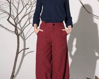 Red linen pants maxi pants women pants (1160)