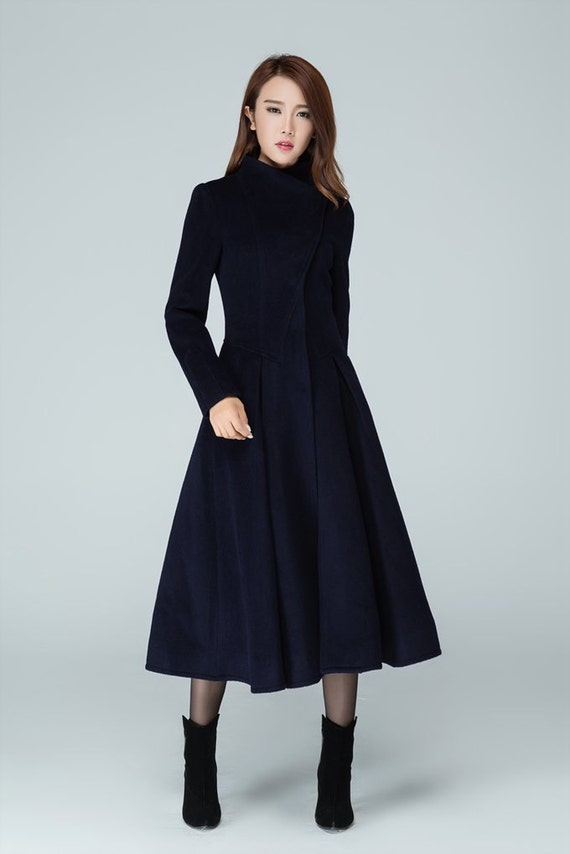 Long trench coat navy coat womens coats swing coat stand