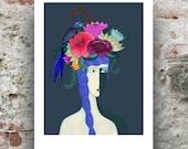 Flower Girl Print / A4 Flower Girl Portrait Print / Flower Girl Art Print  / Floral Art Print