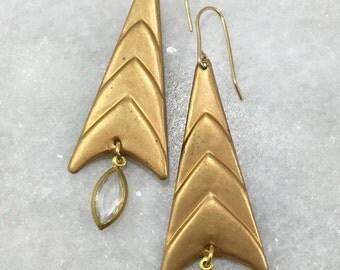 Brass Triangle & Jewel Earrings | E21613