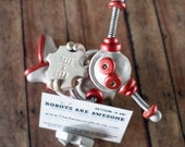 Robot Business Card Holder Red Ryan Geeky Office Decor