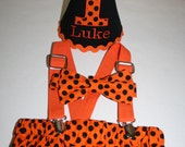 boys halloween birthday outfit boy first birthday outfit halloween cake smash outfit 1st birthday hat suspenders diaper cover bow tie