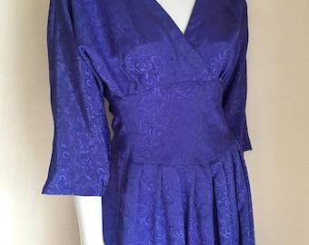 Vintage Women's 80's Dress, Purple, Jacquard Printed by R.E.O.Originals (M)
