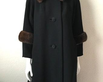 Vintage Women's 60's Coat, Black, Wool, Fur, Fully Lined, Jacket by J.C. Kramer (M)