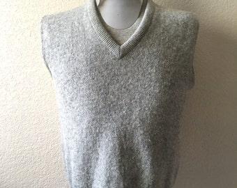 Vintage Men's 70's Jantzen, Sweater Vest, Oatmeal, Sleeveless, Wool (M)