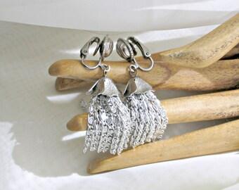 Vintage Clip Earrings 60s Costume Jewelry Scroll Chain Tassel