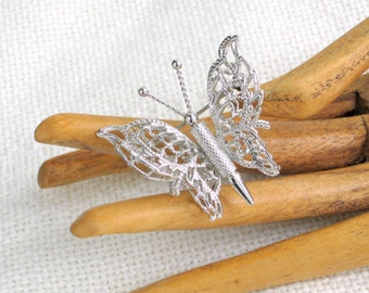 Monet Butterfly Brooch Signed Vintage 80s Costume Jewelry Pin 3D