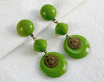 80s Stud Earrings Lime Green Beads Cabochons Medallions Vintage Costume Jewelry