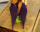 "Earrings 4"" Purple Leather Leaf, Woodsy, Leaves, Autumn, Fall, Unique, Handmade, Lightweight, Soft, Dangle, Woodland"