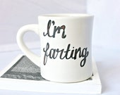 Husband gift, Fart mug, Funny Mug, coffee mug, tea cup, brown white, gag gift, boyfriend gift, for him, mens, kitchen and dining, office