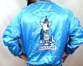 Vintage 1980s Bud Light Spuds Mackenzie Party Animal Blue Satin Jacket
