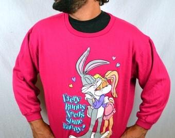 RARE 1996 90s Vintage Bugs Bunny Babs Looney Tunes Pink Soft Sweatshirt