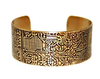 CIRCUIT BOARD Etched Solid 18 gauge Brass Cuff Bracelet, Handcrafted, Gift for Her, Gift for Him, Electronics, Geekery, Technical
