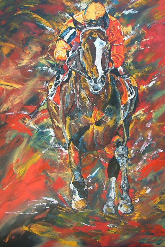 Lost In The Fog Horse Racing art limited edition print small giclee' signed