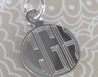 Engraved Silver Charm, Personalized Sterling Silver Charm, Monogrammed Silver Charm, Silver Initial Charm, Silver Name Charm, Bridesmaid
