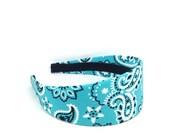 Extra Wide Turquoise Paisley Bandana Headband - Handkerchief Print Headband - Big Girl Headband, Adult Headband, Womens Headband