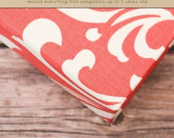 Baby Memory Book (Pregnancy - 5 years) - Coral Damask  (136 journaling pages & personalization included)